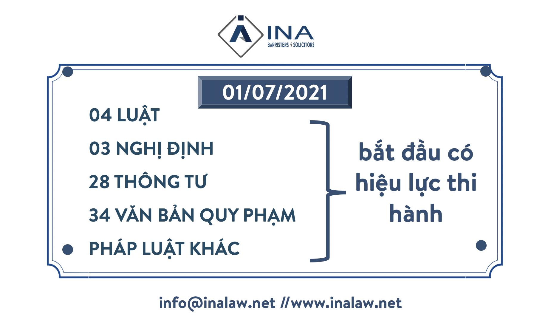 01/07/2021: 04 Luật, 03 Nghị định, 28 Thông tư và 34 văn bản quy phạm pháp luật khác bắt đầu có hiệu lực thi hành